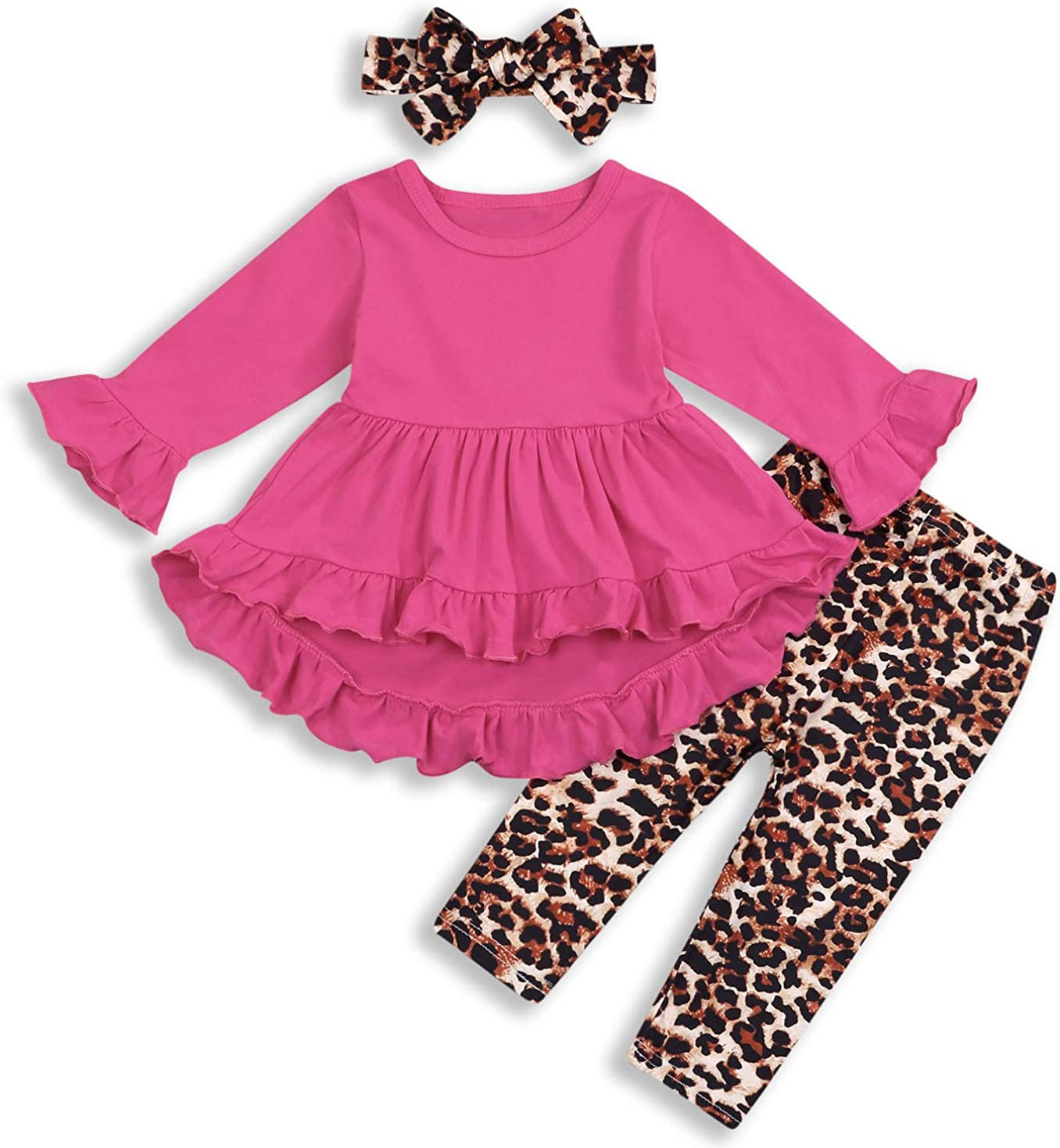 Toddler Kid Baby Girl Clothes Flare Sleeves Top Dress+ Leopard Trousers Pants Set Outfits (18-24 Months, Rose red top Dress+Leopard Pants Set)