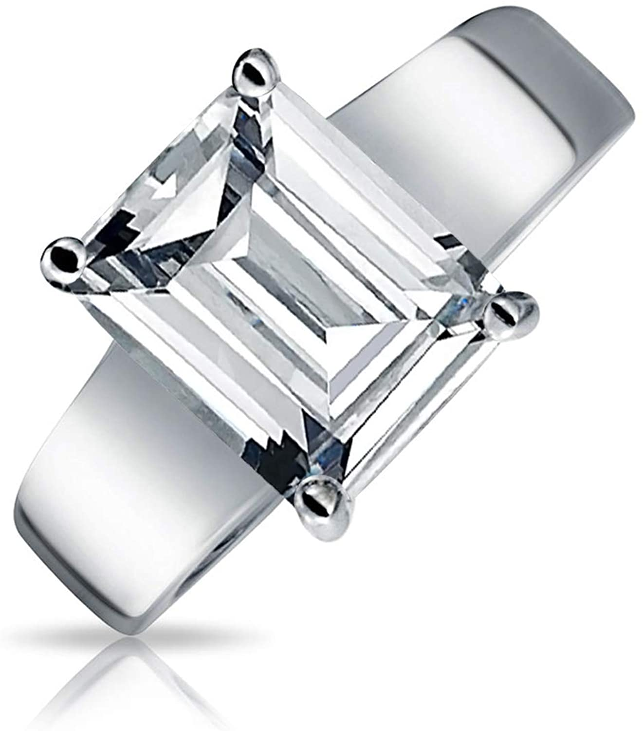 Bling Jewelry Simple Art Deco Style 3CT Solitaire Rectangle Radiant Emerald Cut AAA CZ Engagement Ring Wide Band 925 Sterling Silver