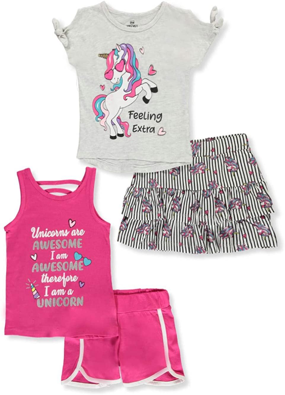 Pink Velvet Girls' Glitter Unicorn 4-Piece Shorts Set Outfit