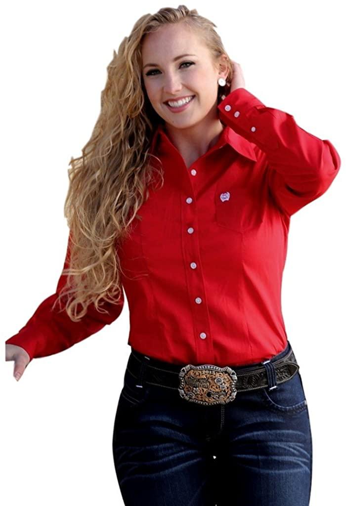 Cinch Apparel Womens Ladies Long Sleeve Button Down Shirt M Red