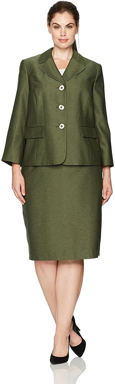 Le Suit Women's Plus Size Two Tone Melange 3 Button Skirt Suit
