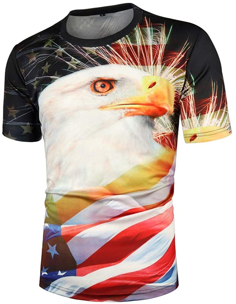 TIANMI Independence Day Tees Men's 3D Print Tops Fashion Elastic Breathable Blouse Short Sleeve Tops
