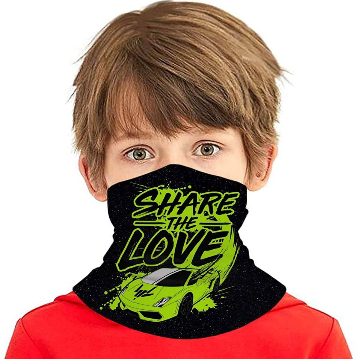 Share The Love Kids Bandana Ear Loops Neck Gaiter Scarf Dust Uv Protection For Boys Girls