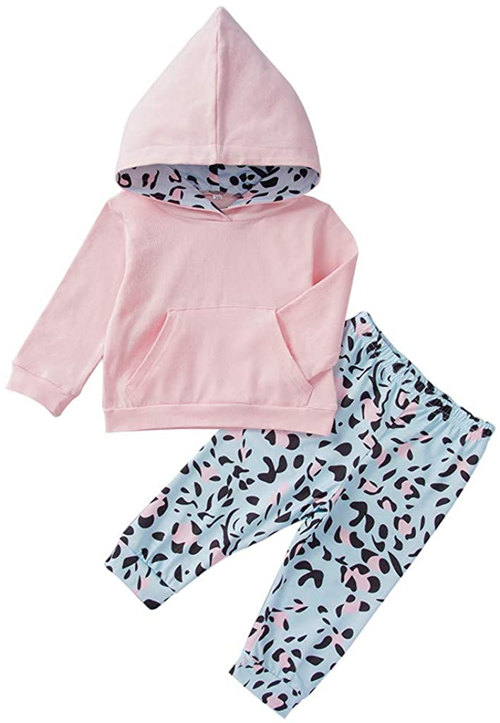 Baby Girls 2Pcs Outfits Clothes Set for Toddler Kids Newborn Hooded Sweatshirt Pocket Pullover Tops+Leopard Print Trousers