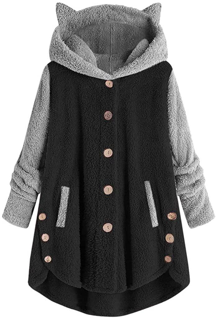 Womens Plus Size Hoodies Cat Print Long Sleeve Cat Ear Fleece Sweatshirt Cardigan Coat Oversize Pullover with Pocket
