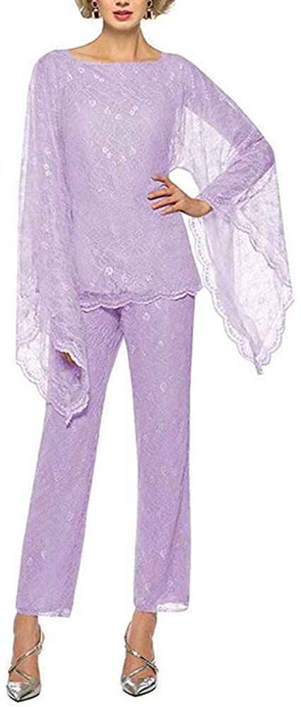 Women's Lavender Formal Mother of The Bride Dress Pant Suits 3 Pieces Chiffon Lace Outfit for Wedding Grooms Plus Size US26W