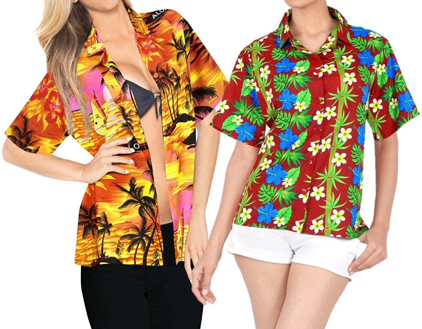 LA LEELA Women's Plus Size Hawaiian Shirt Swim Short Sleeves Loose Fit Work from Home Clothes Women Beach Shirt Blouse Shirt Combo Pack of 2 Size S