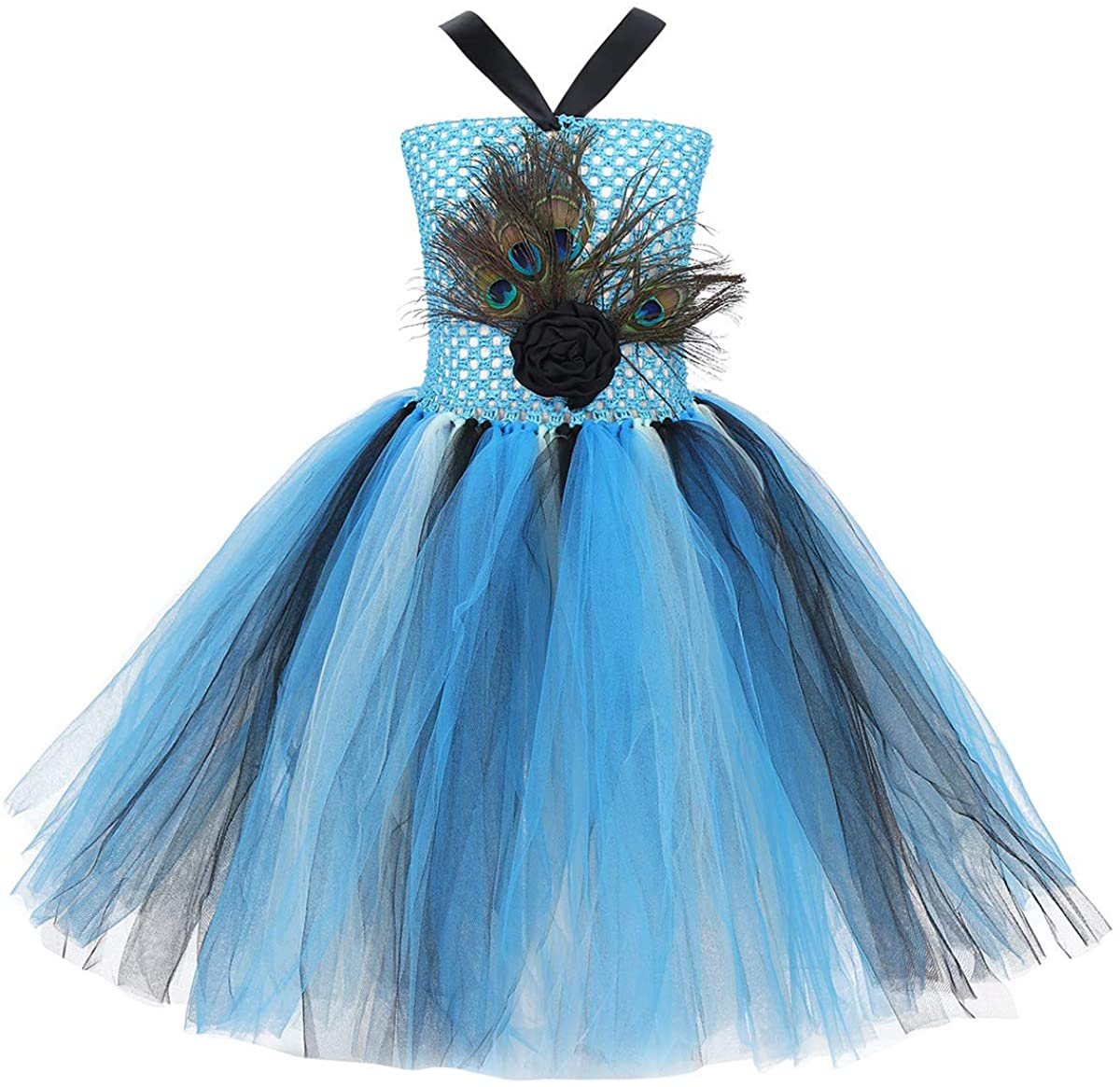 CHICTRY Kids Girls Peacock Feather Costume Sleeveless Girl Pageant Birthday Tutu Dress