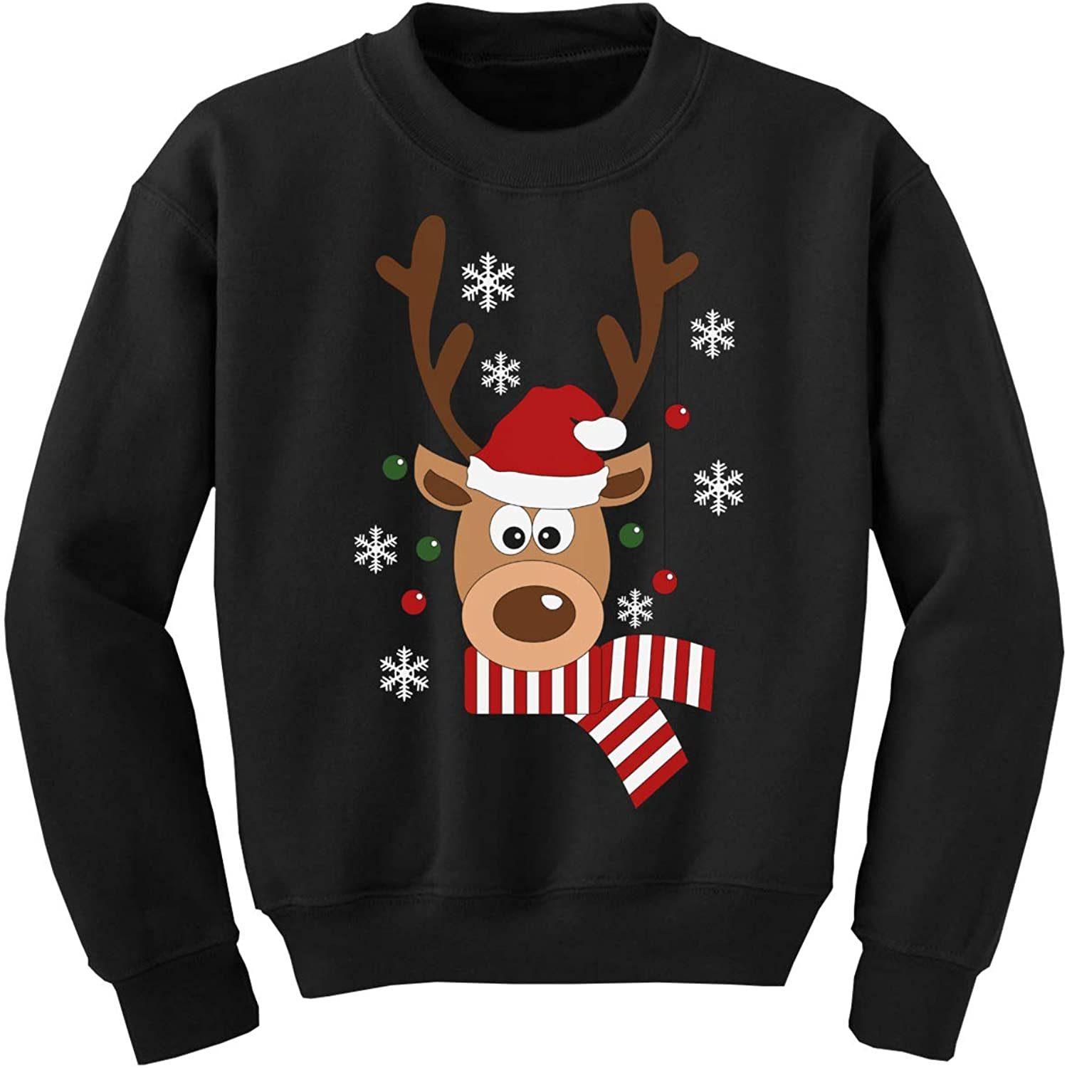 Awkward Styles Ugly Xmas Sweater for Boys Girls Kids Youth Deer in Red Xmas Hat Sweatshirt