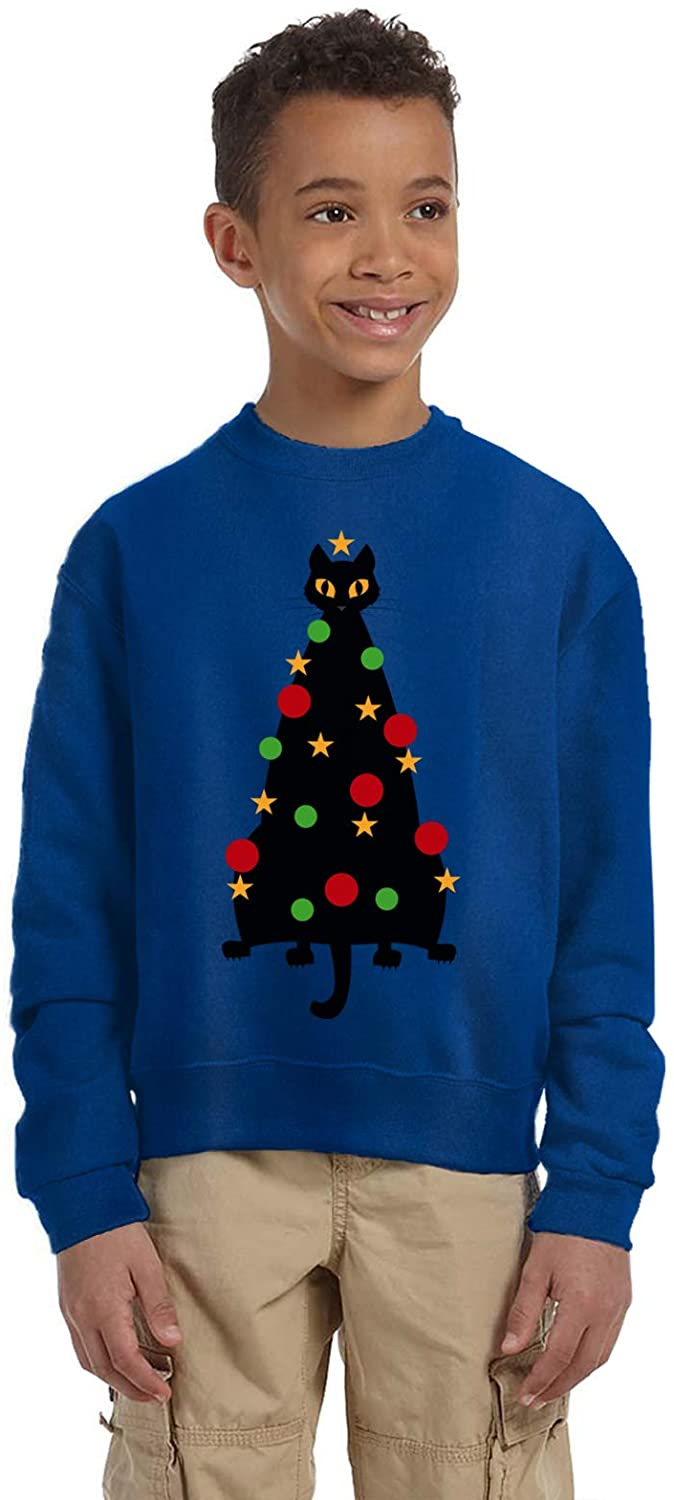 Pekatees Ugly Xmas Clothes Sweater for Boys Girls Kids Youth Cat Christmas Tree Sweatshirt