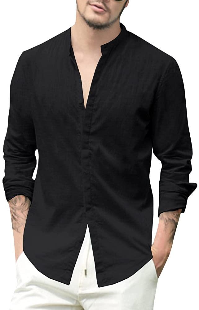 Makkrom Mens Long Sleeve Shirts Linen Cotton Button Up Loose Summer Beach Yoga Shirt