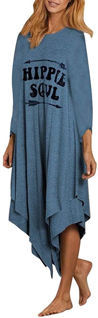 ZEFOTIM Long Maxi Dresses, Fashion Women Letter Printed Tank Top Dress Long Sleeve O-Neck Casual Dress