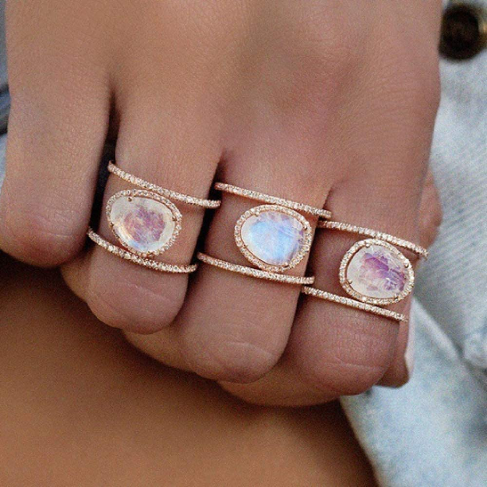 Weishu New Irregular Natural Moonstone Ring Plated in 14k Rose Gold Yellow Gold White Gold Micro-Inset Finger Ring (US Code 8)