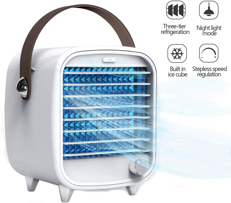 PBQWER Air Conditioner, Portable Mobile Air Conditioner Air Cooler Fan Quiet Table Fan Portable Mist Fan Small Air Cooler Humidifier, Personal Mini Air Cooler