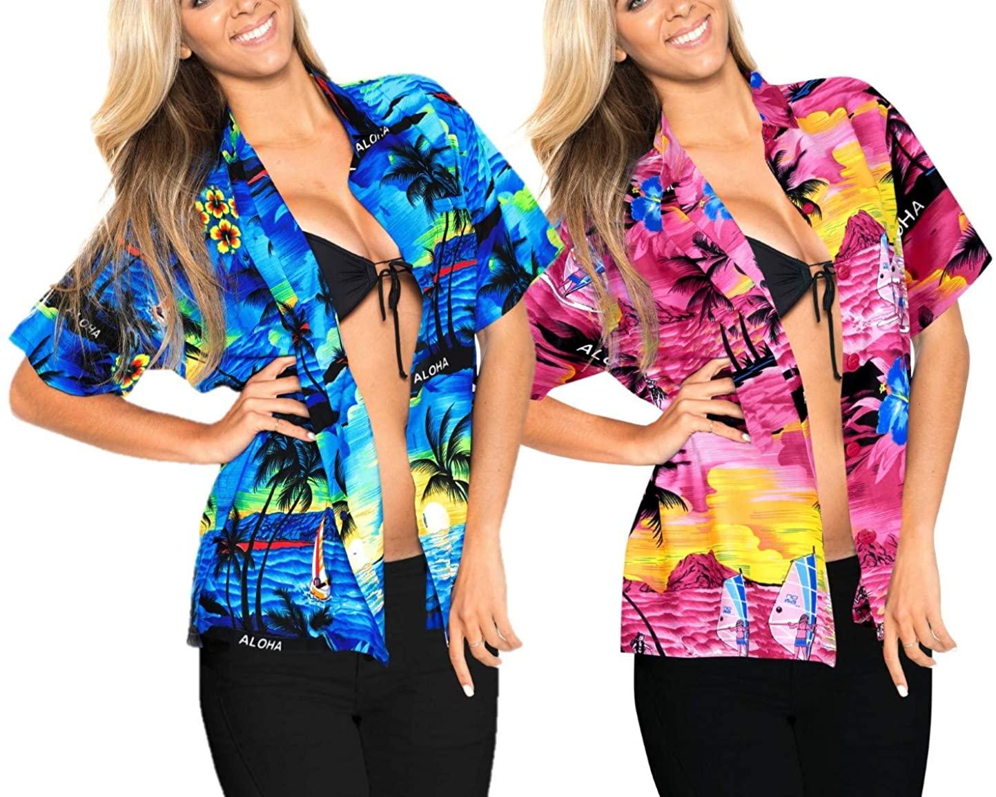 LA LEELA Women Hawaiian Shirt Casual Button Down Short Sleeve Shirt XXL Work from Home Clothes Women Blouse Pack of 2