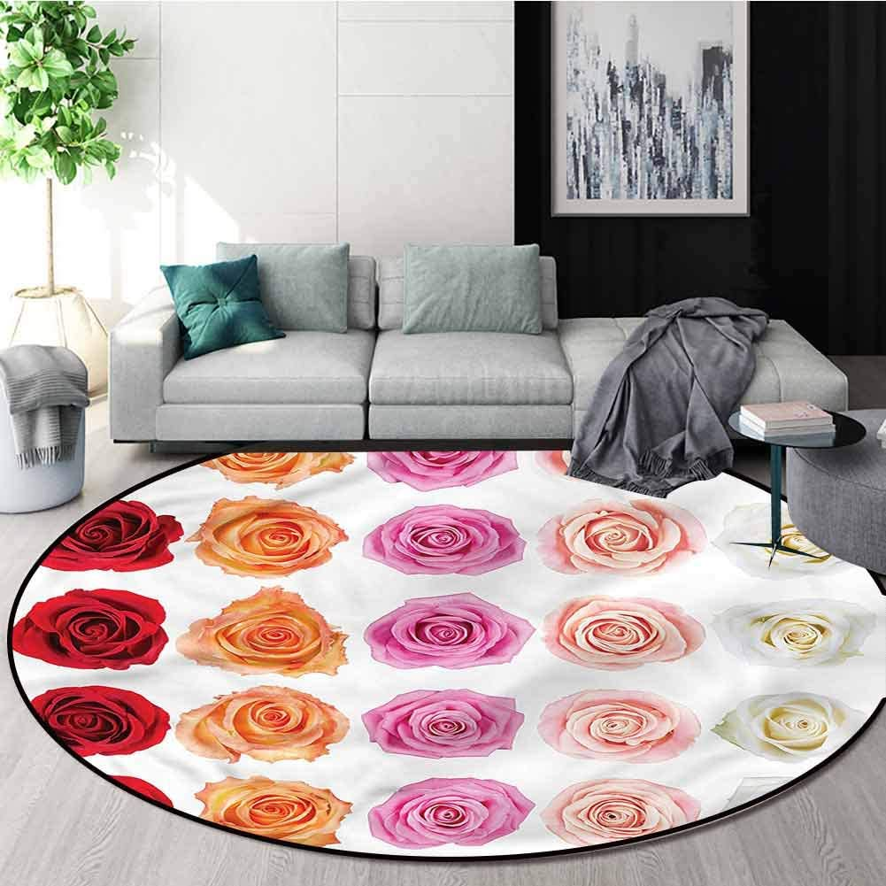 RUGSMAT Rose Modern Simple Round Rug,Affection Love Celebration Lifts Basket Swivel Chair Pad Coffee Table Rug Round-55
