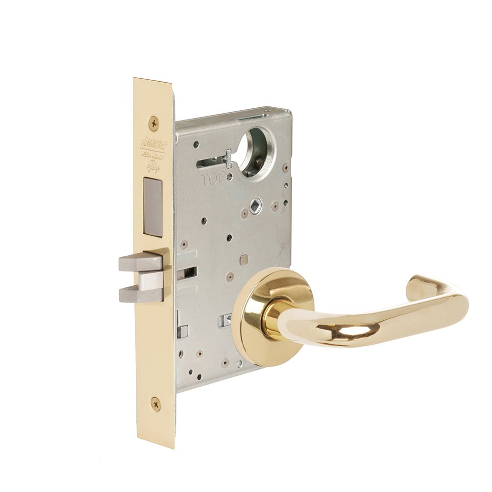 CORBINRUSSWIN ML2024-LWA-605-LC 605 Bright Polished Brass, Lever LWA Lustra, Entrance/Entry/Office, Steel; Stainless Steel; Brass