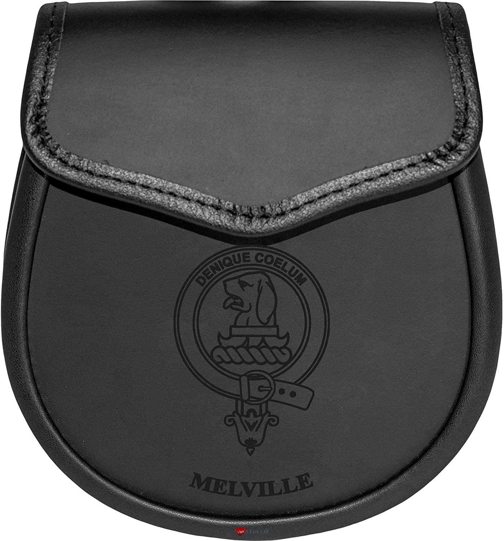 Melville Leather Day Sporran Scottish Clan Crest