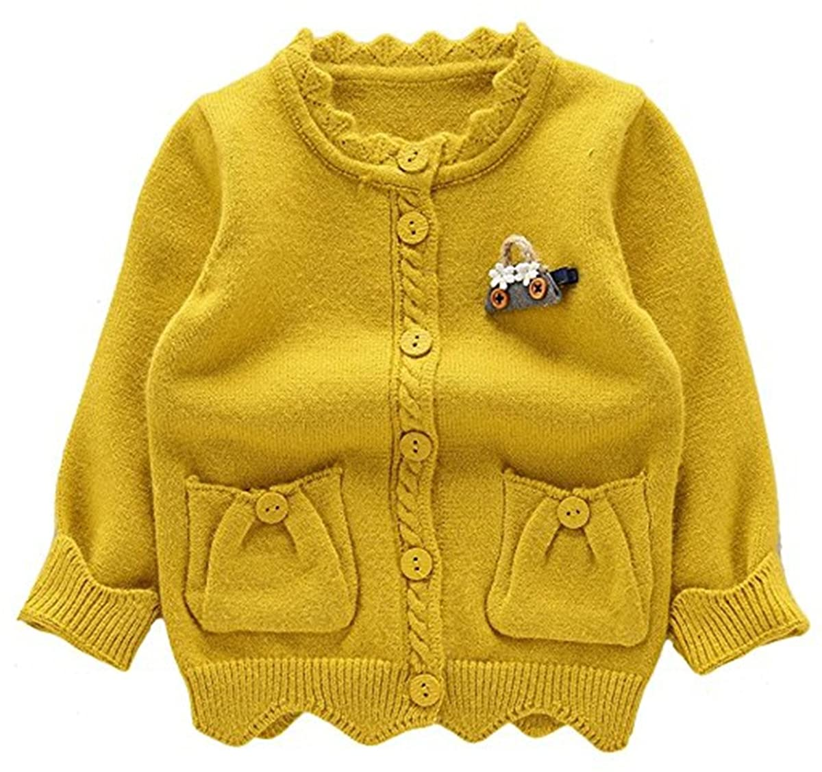 REWANGOING Baby Little Girls Kid sCashmere Cable Knit Front Button Cardigan Sweater