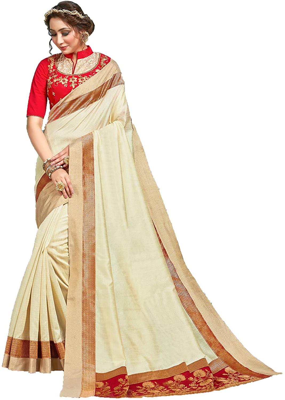 Indian Saree for Women Ethnic Sari Off White Jute Silk Sari with Unstitched Blouse. ICW2739-7