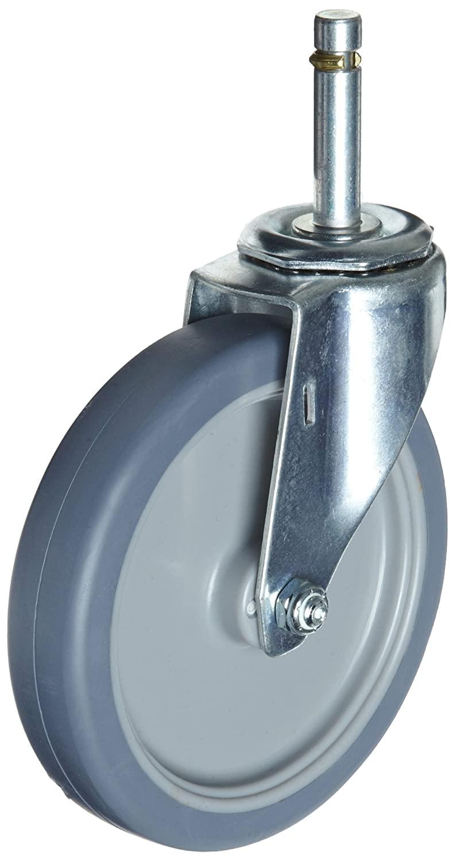 E.R. Wagner Stem Caster, Swivel, TPR Rubber on Polyolefin Wheel, Plain Bearing, 125 lbs Capacity, 3