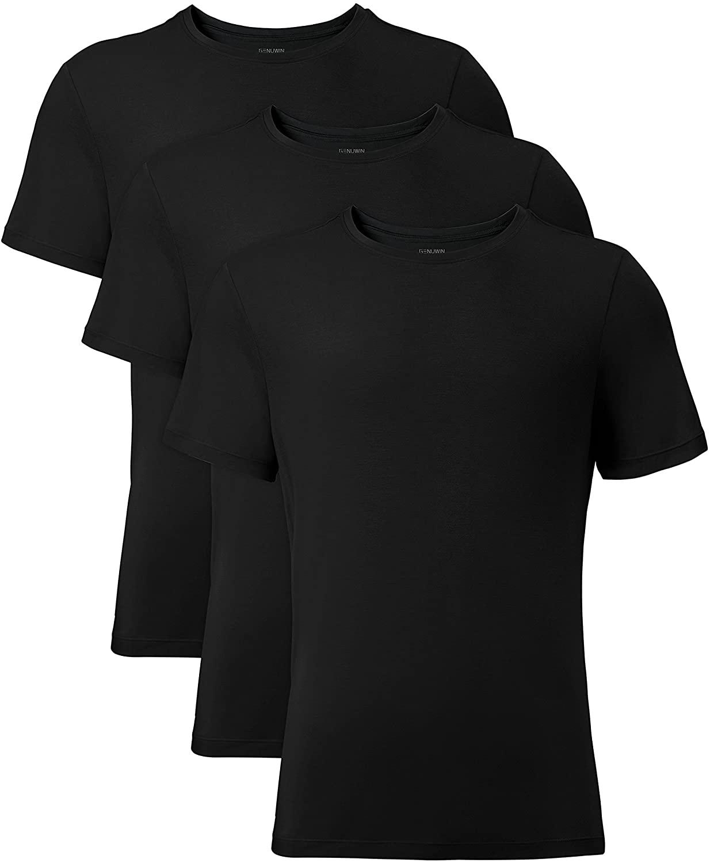 Genuwin 3 Pack Men's Bamboo Rayon Crewneck Undershirts Lounge T-Shirt Slim Fit Tees Big and Tall Undershirt