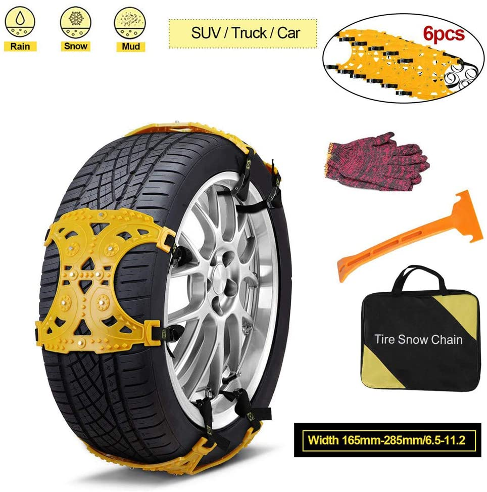 YFjyo 6PCS Car Snow Chains, Emergency Anti Slip Snow Tire Chains for Most Cars/SUV/Trucks, Winter Universal Security Chains Tire Width 165mm-285mm/6.5-11.2''