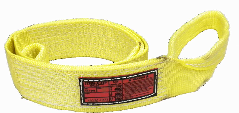 Stren-Flex EEF1-906-8 Type 3 Heavy Duty Nylon Flat Eye and Eye Web Sling, 1 Ply, 9600 lbs Vertical Load Capacity, 8' Length x 6