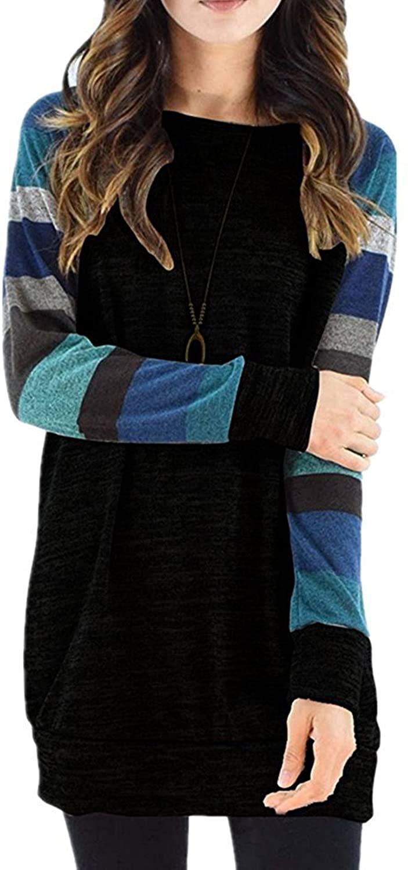 ECOWISH Women's Cotton Knitted Long Sleeve Round Neck Lightweight Tunic Sweatshirt Casual Tops