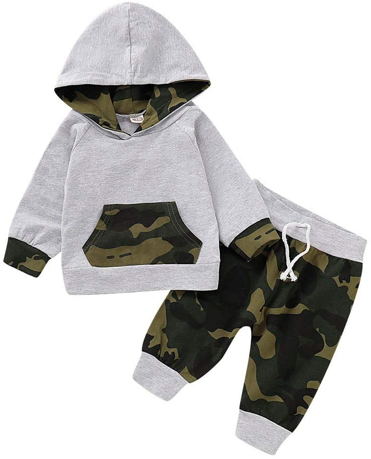 Newborn Baby Boy Clothes,Hoodies & Pants Outfits Clothes Sets,Toddler Boys 0-18 M Camo Print Sweatshirt Pullover