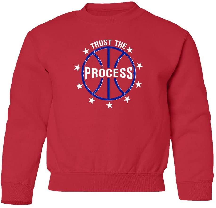 SMARTZONE New Graphic Philadelphia Trust The Process Joel Unisex Youth Sweatshirt Crewneck Sweater (Red, Youth X-Large)
