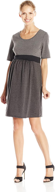 Three Seasons Maternity Women's Maternity Elbow Sleeve Quilt Top Solid Dress