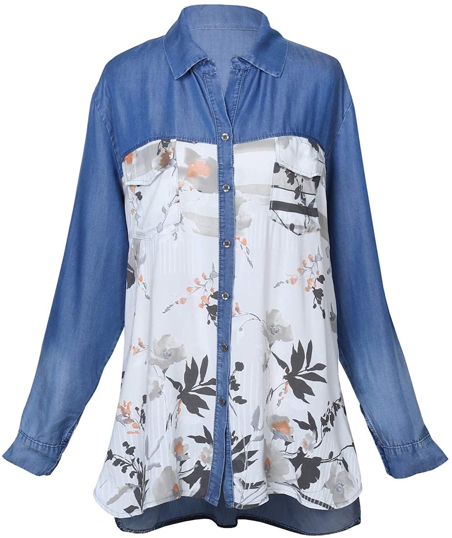 Kaktus Sportswear Womens Floral Denim Top - Silky Front Shirt, Roll Tab Sleeves