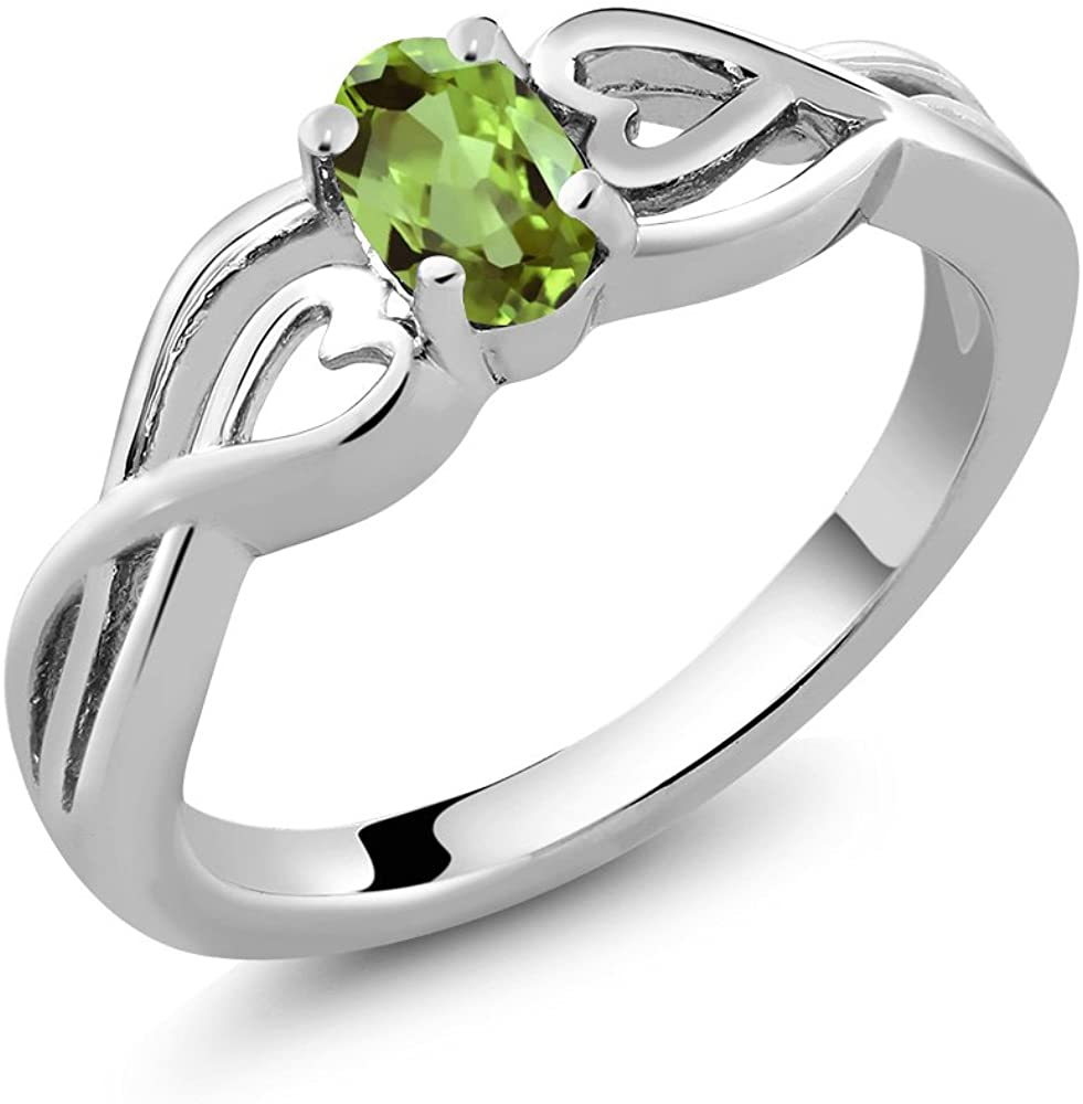Gem Stone King 925 Sterling Silver Green Peridot Women's Engagement Ring (0.50 Cttw Gemstone Birthstone Oval 6X4MM Available 5,6,7,8,9)