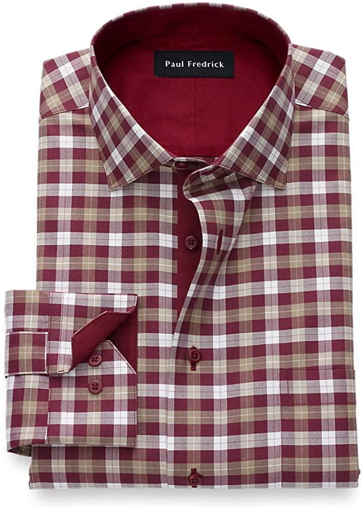 Paul Fredrick Men's Non Iron Two Ply Cotton Gingham, Semi-Spread Collar, Mitered