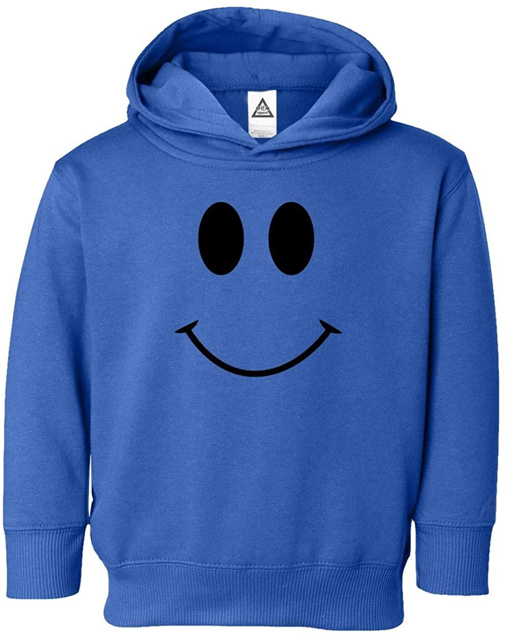 Sheki Apparel Smile Face Cute, Positive, Happy Smiling Little Kids Hoodie Toddler Sweatshirt (Black,