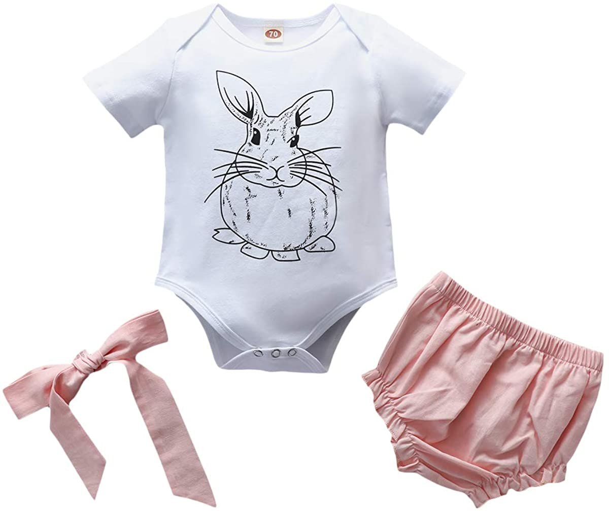 Infant Baby Easter Set Little Girl Rabbit Rompor and Pink Shorts with Headband