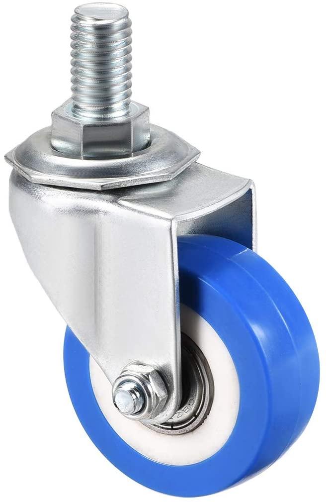 uxcell Swivel Caster Wheels PU Caster 2 Inch Dia Blue Wheel M12 x 20mm Threaded Stem 132lb Capacity