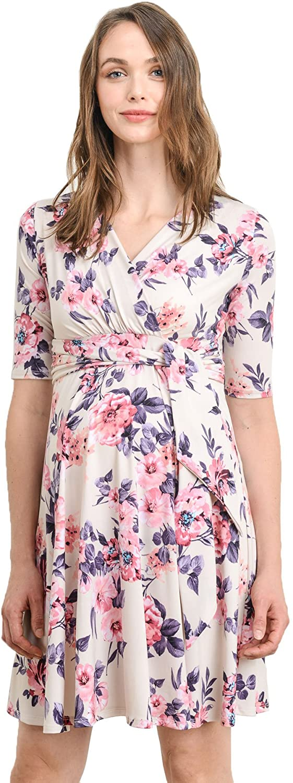 HELLO MIZ Women's Maternity Wrap Dress with Front Tie Belt (X-Large, Cream Floral)
