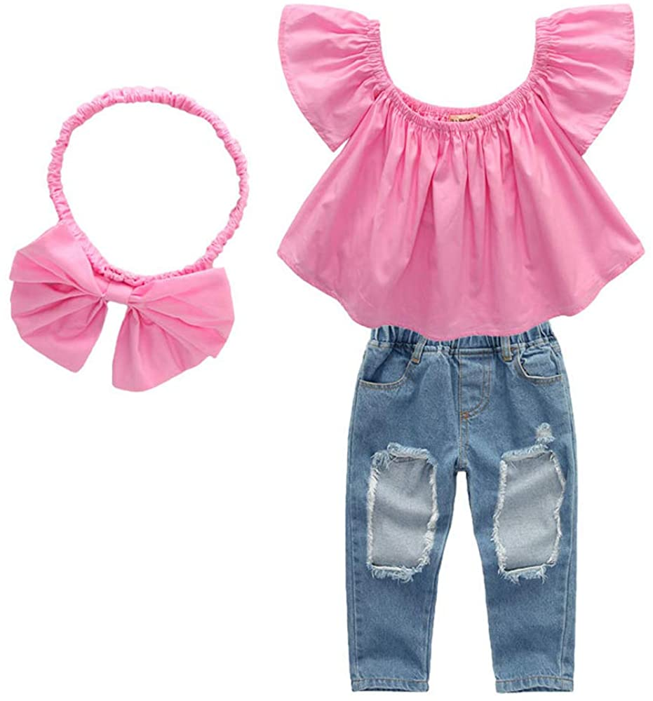 Toddler Girls Outfits Ruffle Off Shoulder Top Ripped Jeans Denim Pants Bowknot Headband 3Pcs Clothes Set, 1T-7T