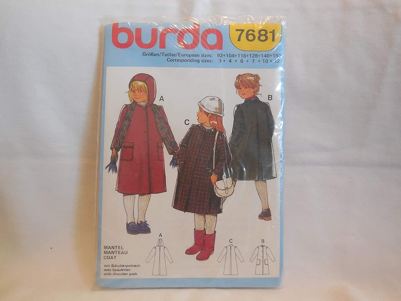 Kids Girl Coat Pattern Size 3-12