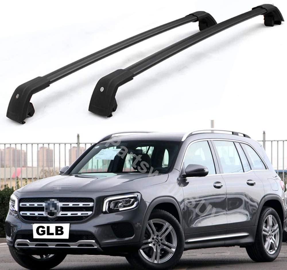 YiXi-Partswell 2Pcs Lockable Roof Rack Cross Bars Crossbar Baggage Luggage Rack Aluminum Fit for Mercedes Benz GLB X247 2019-2021- Black