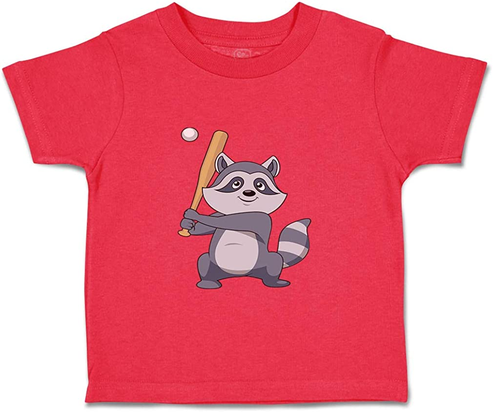 Custom Baby & Toddler T-Shirt Raccoon Baseball Player Cotton Boy Girl Clothes