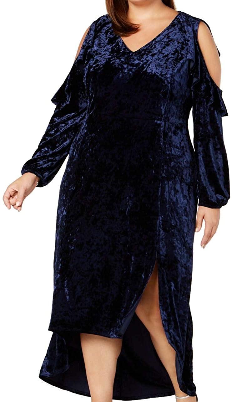 NY Collection Womens Plus Velvet Hi-Low Maxi Dress