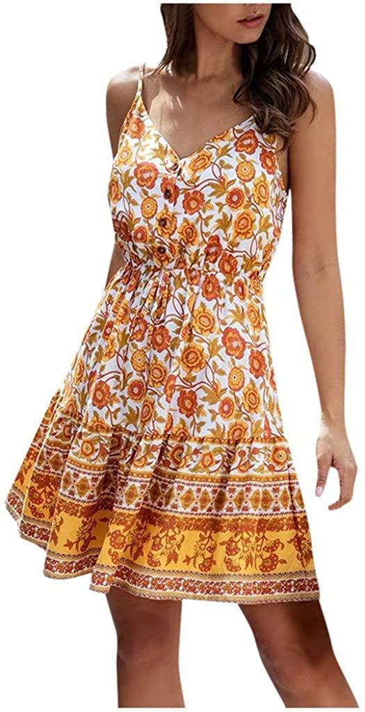 Womens Summer Floral Spaghetti Strap V Neck Boho Button Backless Mini Dress