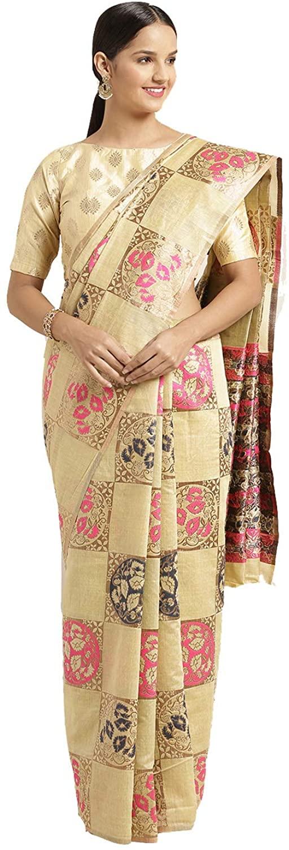 Indian Saree for Women Ethnic Sari Gold Linen Art Silk Sari with Unstitched Blouse. ICW2774-1