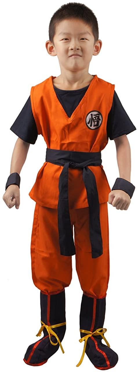 miccostumes Boy's Saiyan Cosplay Costume Top Pants with Belt