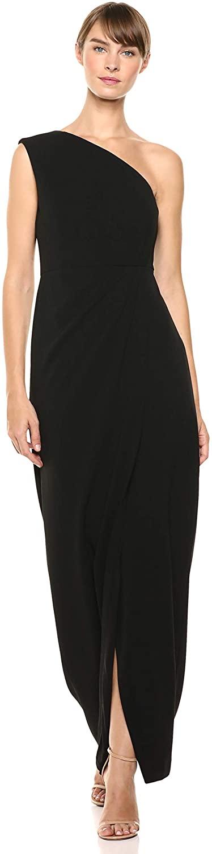 Calvin Klein Womens One Shoulder Gown with Waist Ruch