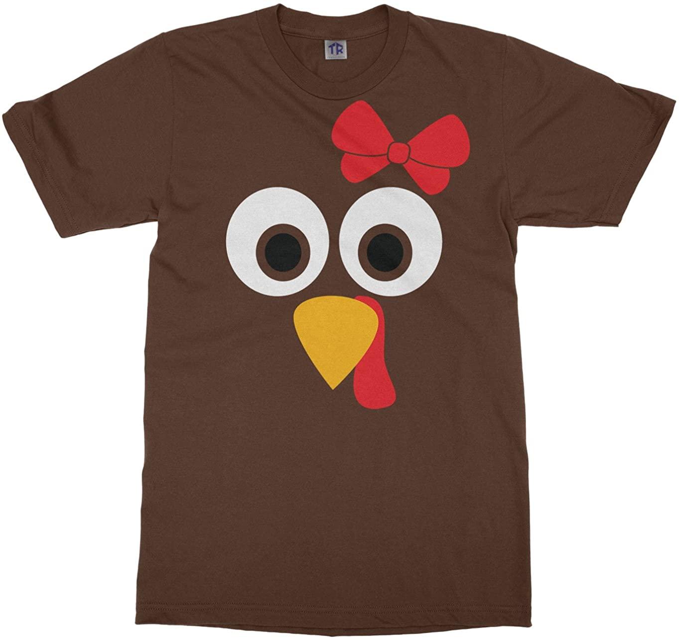 Threadrock Big Girls' Turkey Face with Big Red Bow Youth T-Shirt