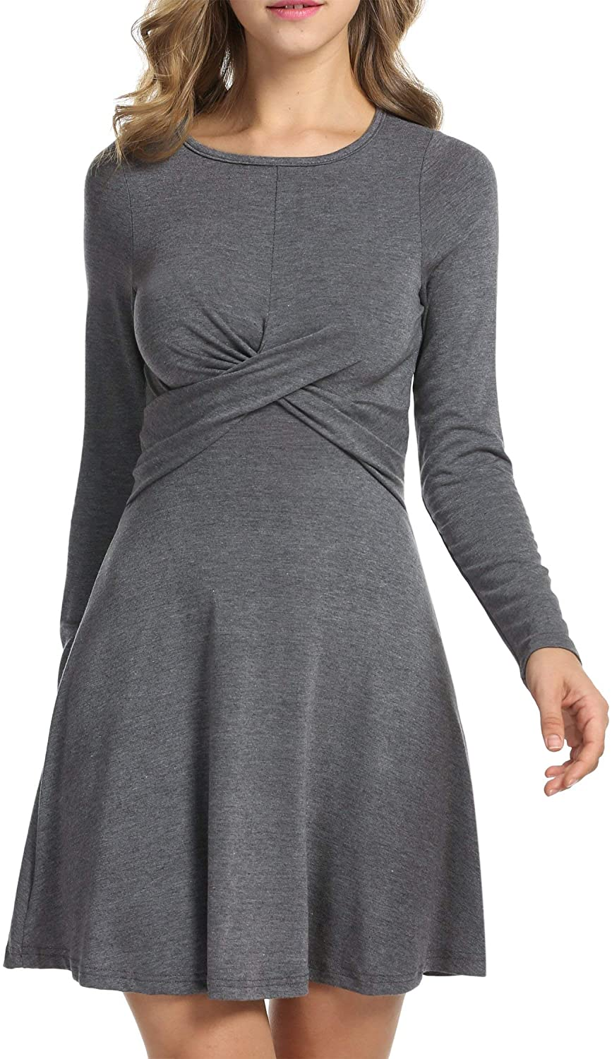 Hotouch Womens Dress Long Sleeve Cocktail Casual Swing Skater T Shirt Dresses